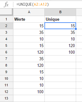 Sample formula for Unique