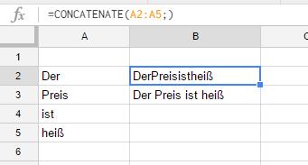Concatenate sample formula