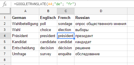 Sample formulas for googletranslate
