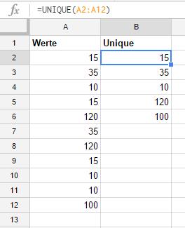 Sample formula for Unique