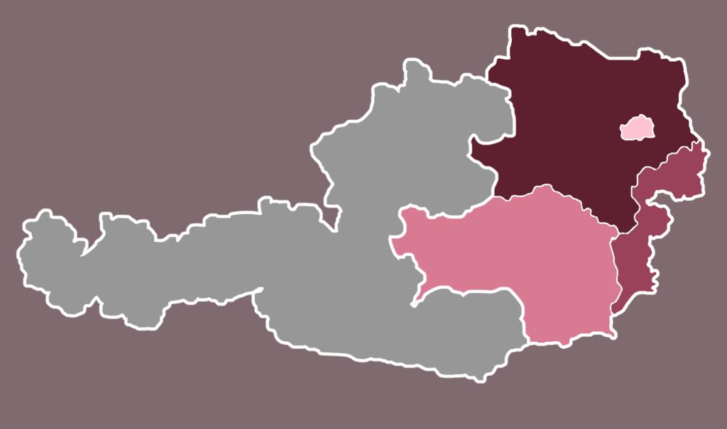 Österreichkarte, besonders hervorgehoben sind die Bundesländer Wien, NÖ, Stmk und Burgendland
